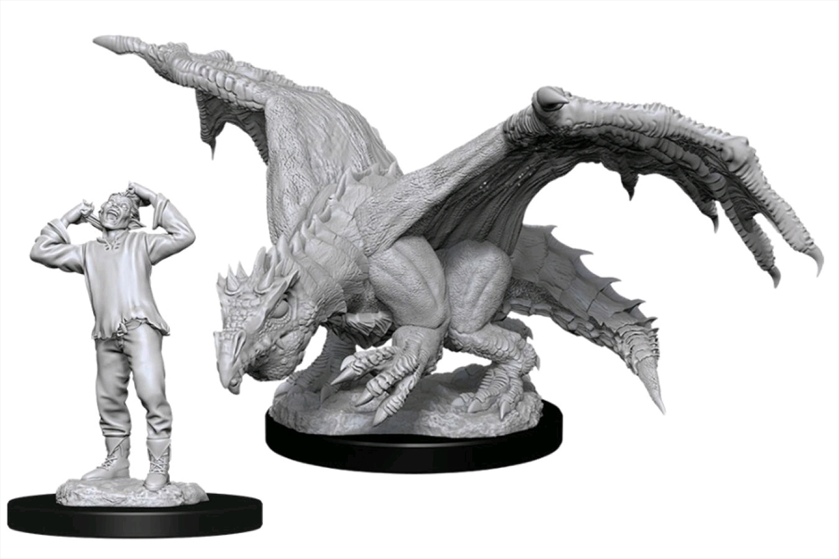 Dungeons & Dragons - Nolzur's Marvelous Unpainted Minis: Green Dragon Wyrmling & Elf | Games