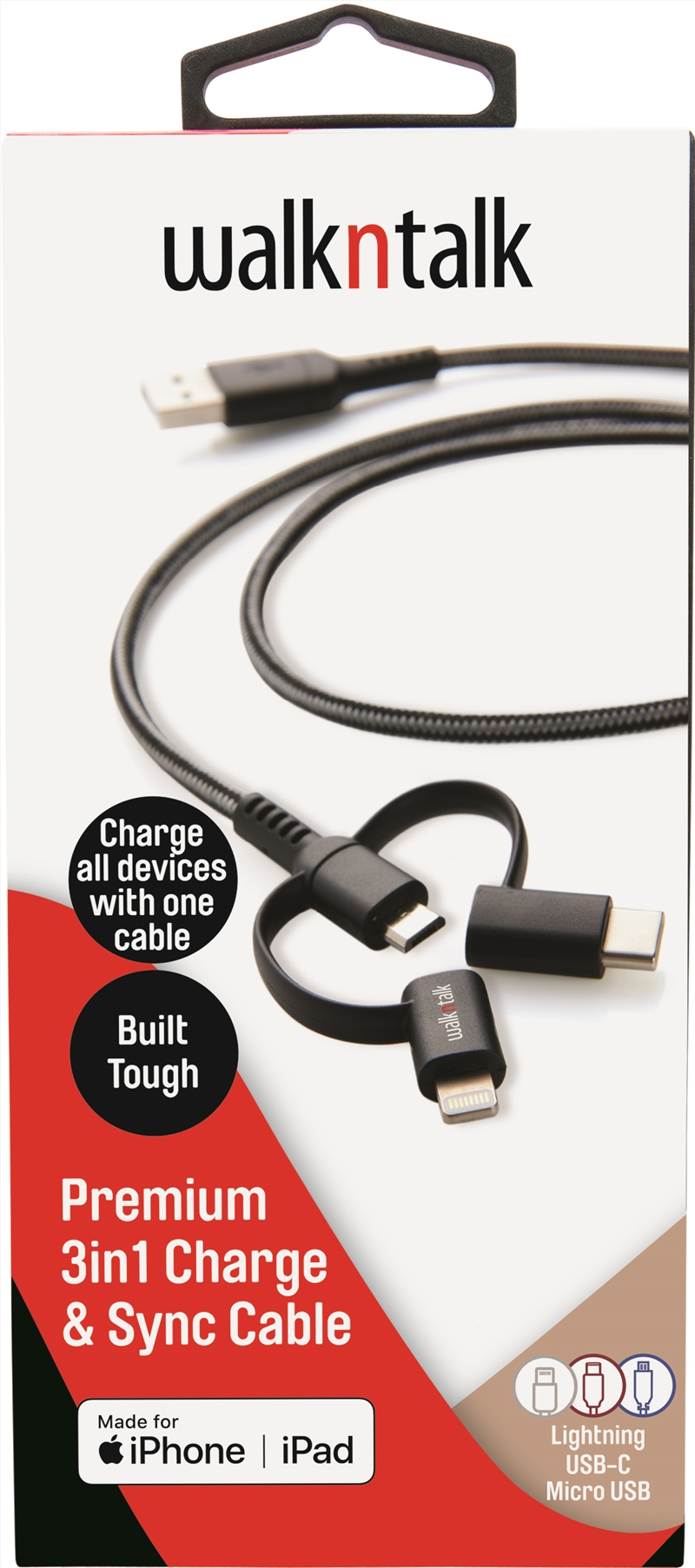 Walk n Talk 3in1 Charge & Sync Cable Lightning/USB-C/Micro USB | Accessories