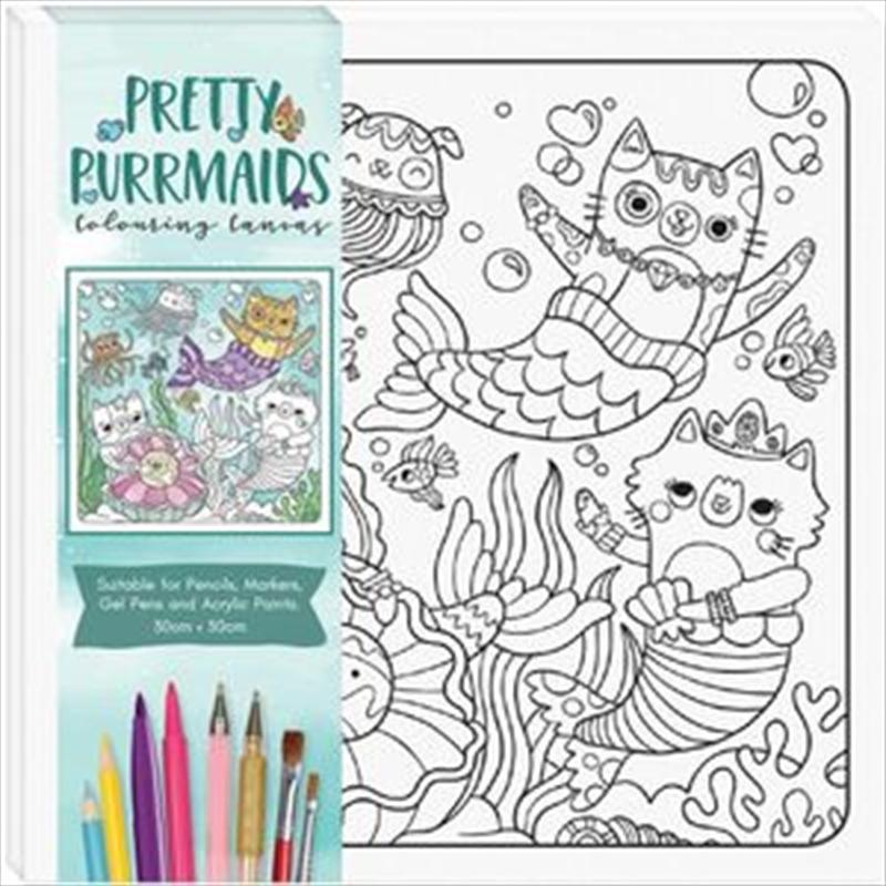 Pretty Purrmaid - Children's Colouring Canvas   Colouring Book