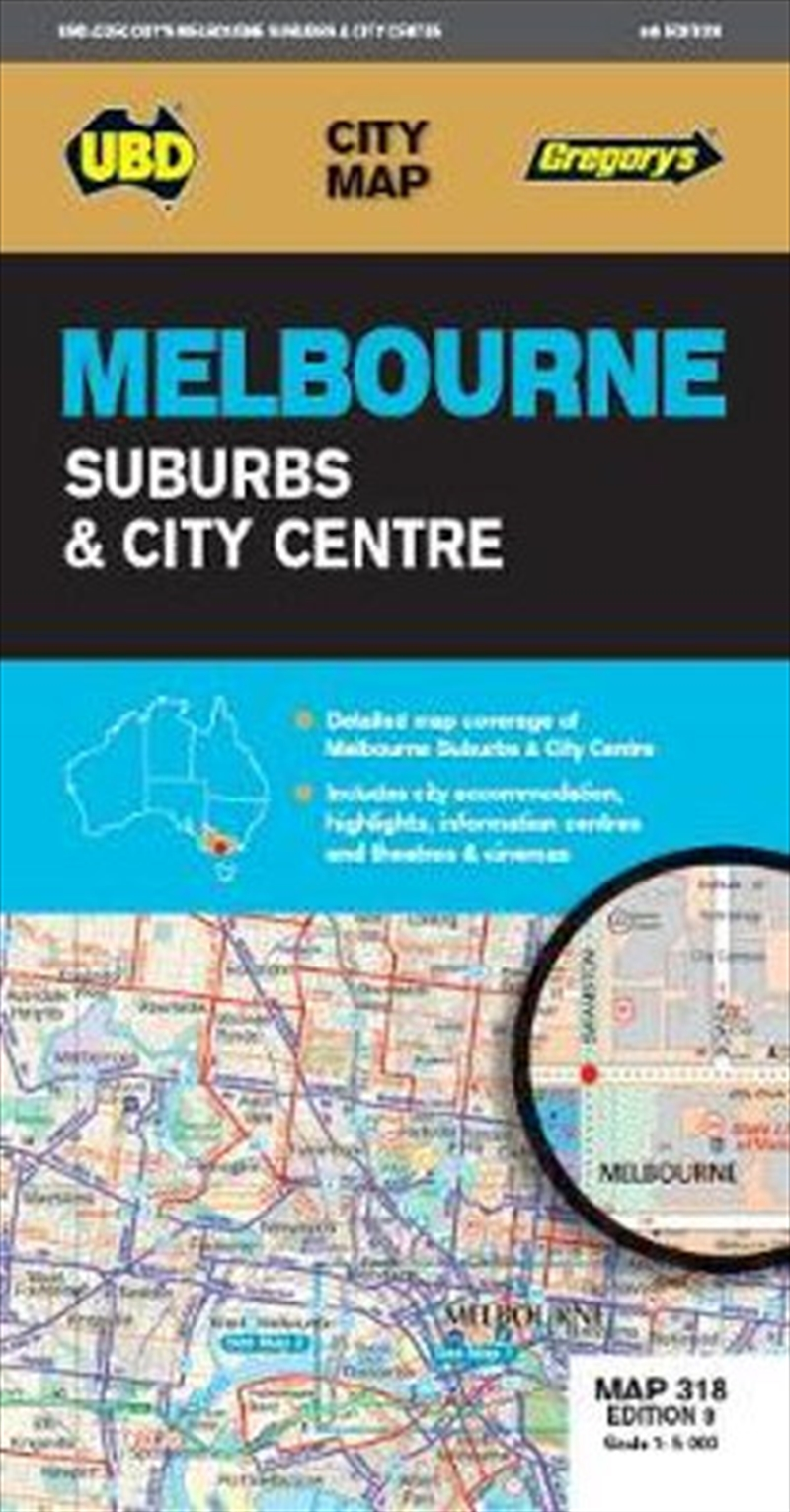 Melbourne Suburbs & City Centre Map 318 9th ed | Sheet Map