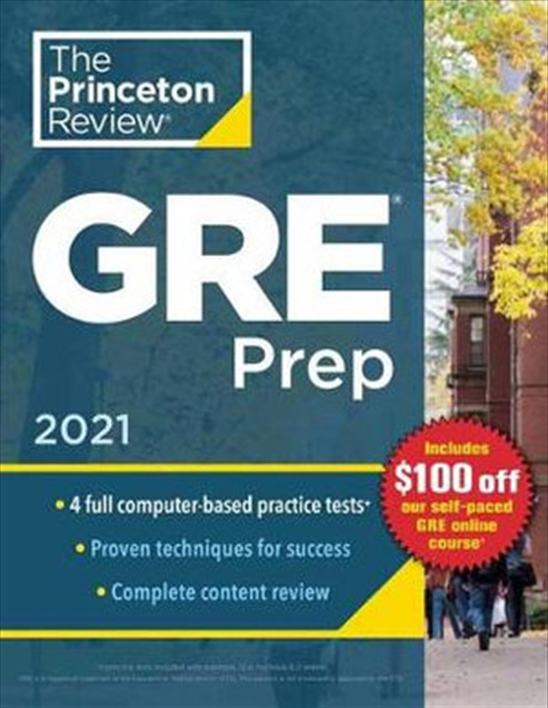 Princeton Review GRE Prep, 2021 4 Practice Tests + Review & Techniques + Online Features   Paperback Book