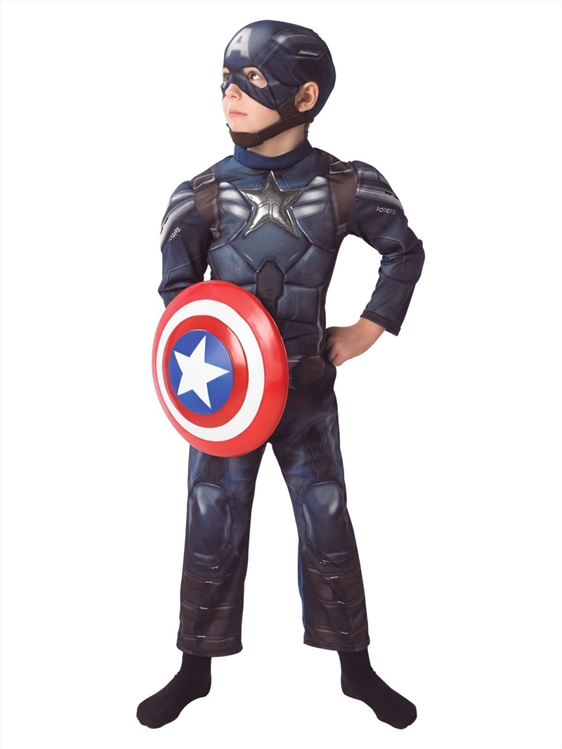 Captain America Winter Soldier Deluxe Costume for Kids: 5-6yrs | Apparel