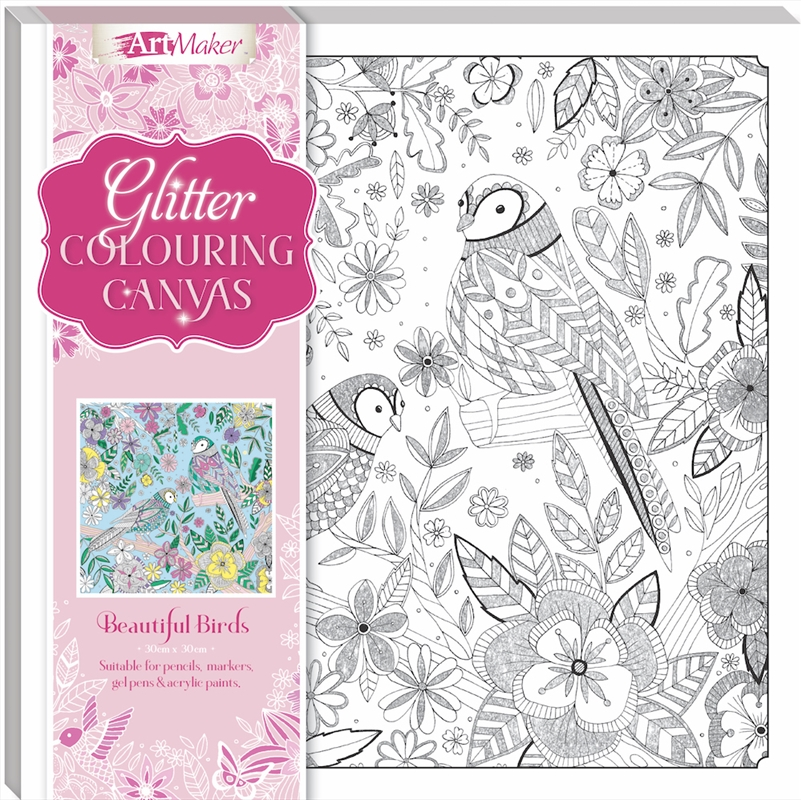 Beautiful Birds Glitter Colouring Canvas | Merchandise