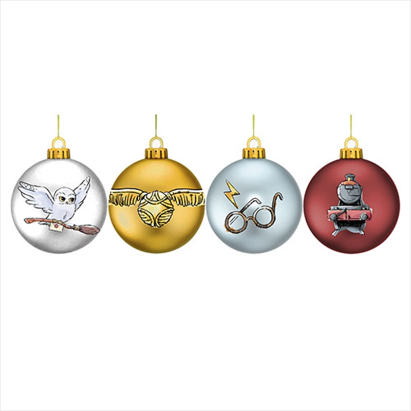 Harry Potter Mixed Glitter Bauble - Set Of 4 | Homewares