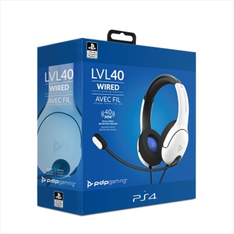 PDP PS5 LVL 40 Wired Headset White   Playstation 5