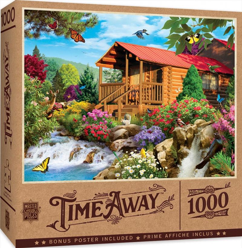 Masterpieces Puzzle Time Away Cascading Cabin Puzzle 1,000 pieces   Merchandise