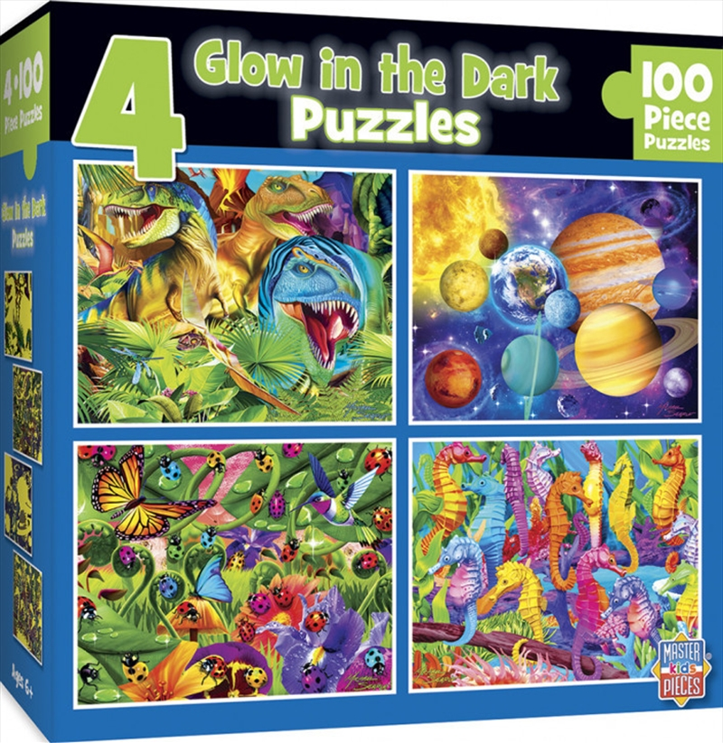 Masterpieces Puzzle 4 Pack Glow in the Dark Blue Puzzle 100 pieces | Merchandise