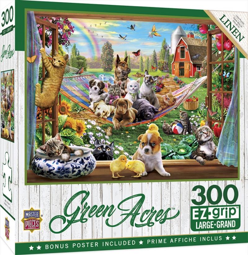 Masterpieces Puzzle Green Acres Afternoon Siesta Ez Grip Puzzle 300 pieces   Merchandise