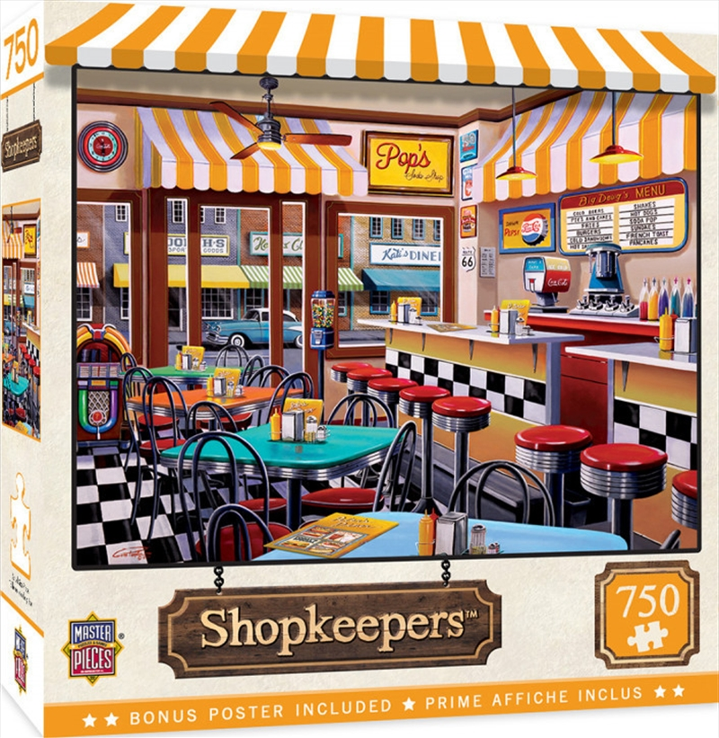 Masterpieces Puzzle Shopkeepers Pop's Soda Fountain Puzzle 750 pieces | Merchandise