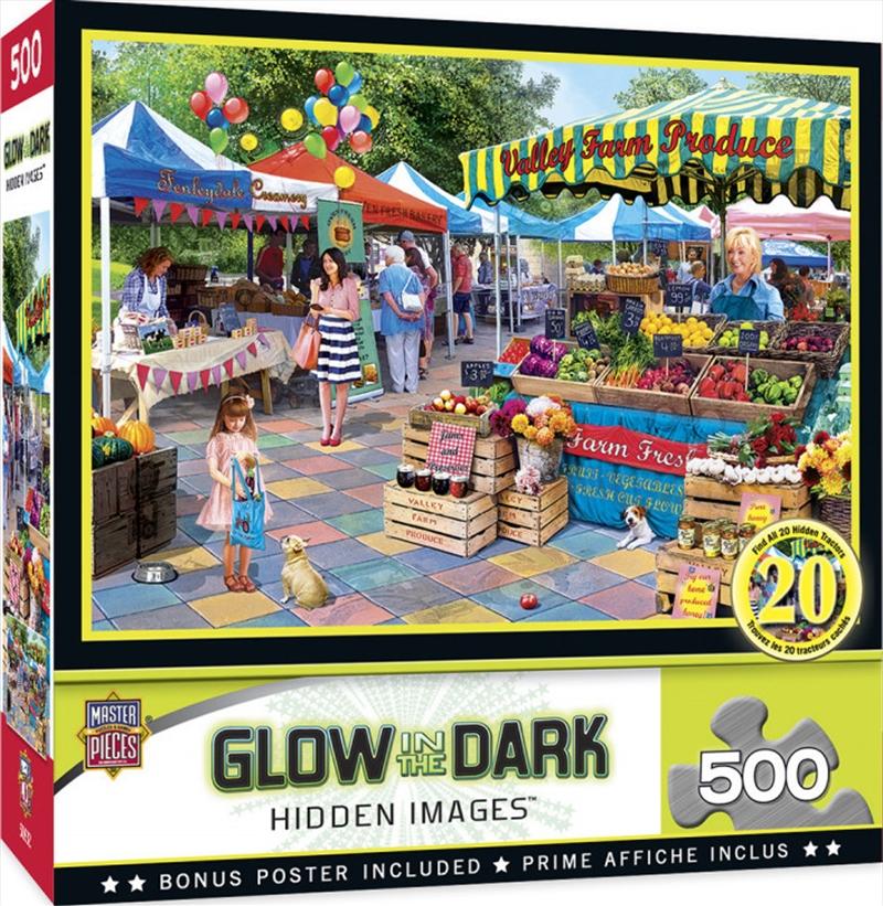 Masterpieces Puzzle Hidden Image Glow Corner Market Puzzle 500 pieces | Merchandise