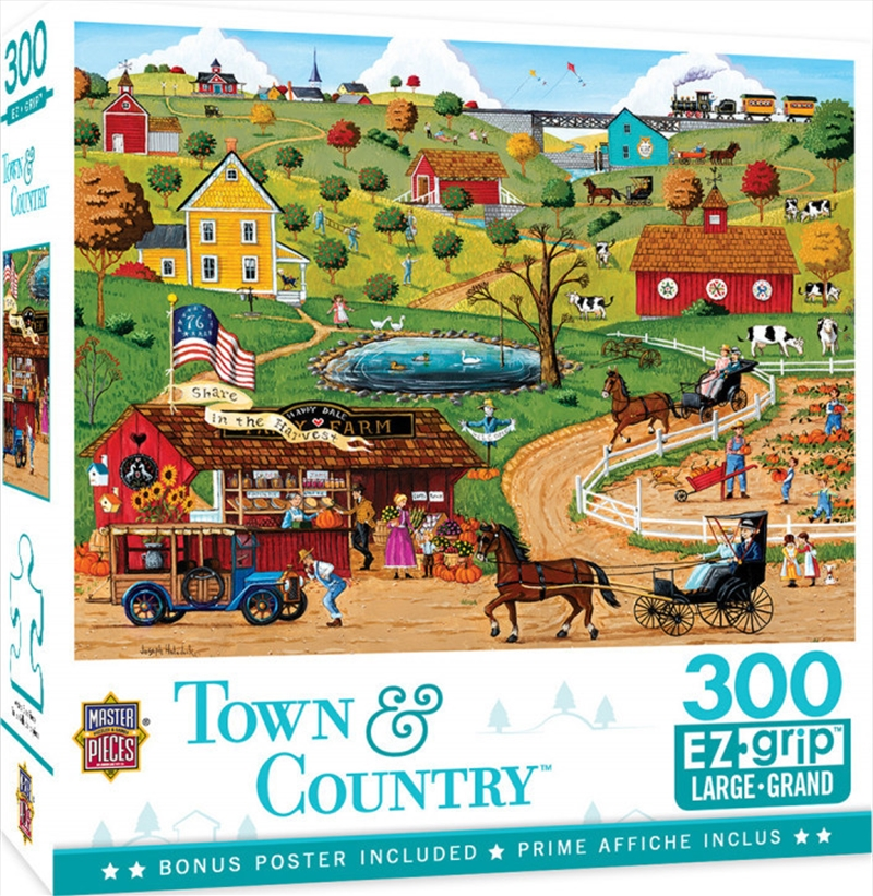 Masterpieces Puzzle Town & Country Share in the Harvest Ez Grip Puzzle 300 pieces   Merchandise