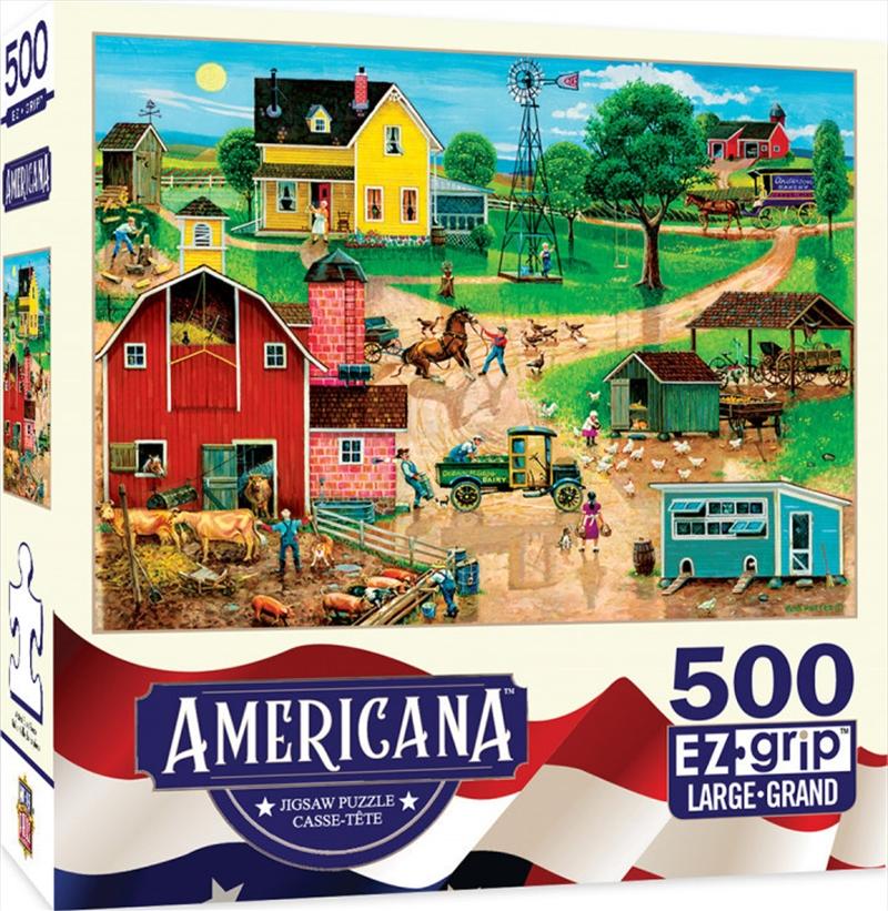 Masterpieces Puzzle Americana by Bob Pettis After the Chores Ez Grip Puzzle 500 pieces | Merchandise