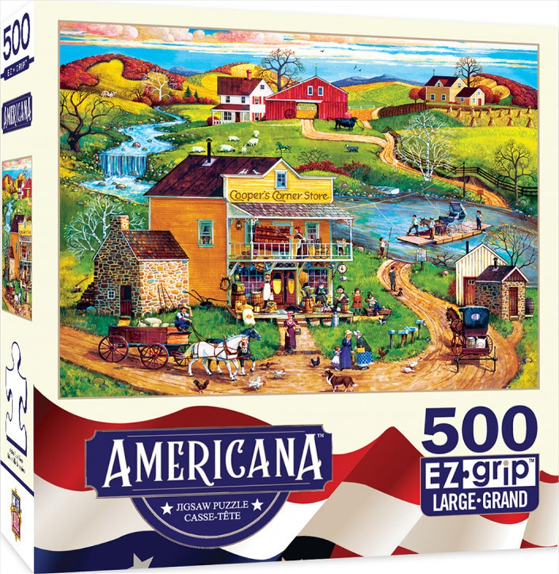 Masterpieces Puzzle Americana by Bob Pettis Cooper's Corner Ez Grip Puzzle 500 pieces   Merchandise