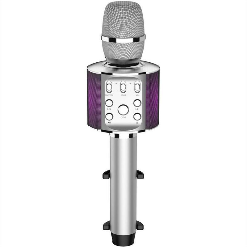 Laser Karaoke LED Microphone - Silver | Hardware Electrical