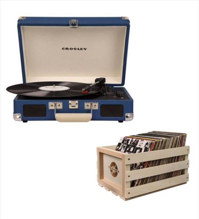 Crosley Cruiser Bluetooth Portable Turntable with Storage Crate - Blue   Hardware Electrical