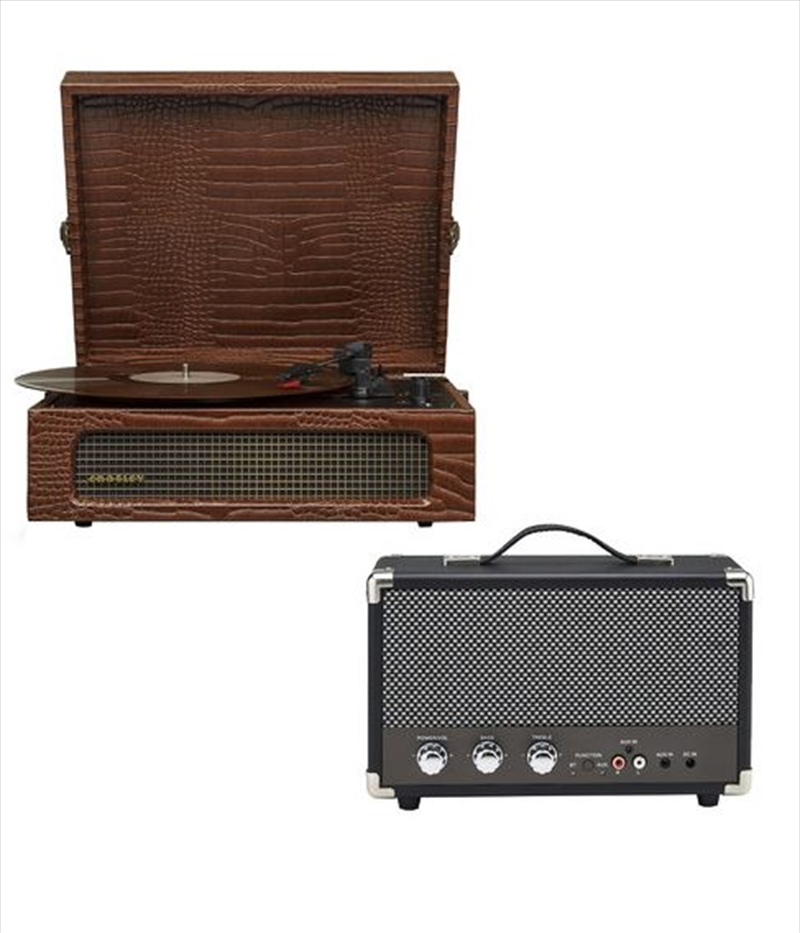 Crosley Voyager Bluetooth Portable Turntable with Speaker - Brown Croc   Hardware Electrical