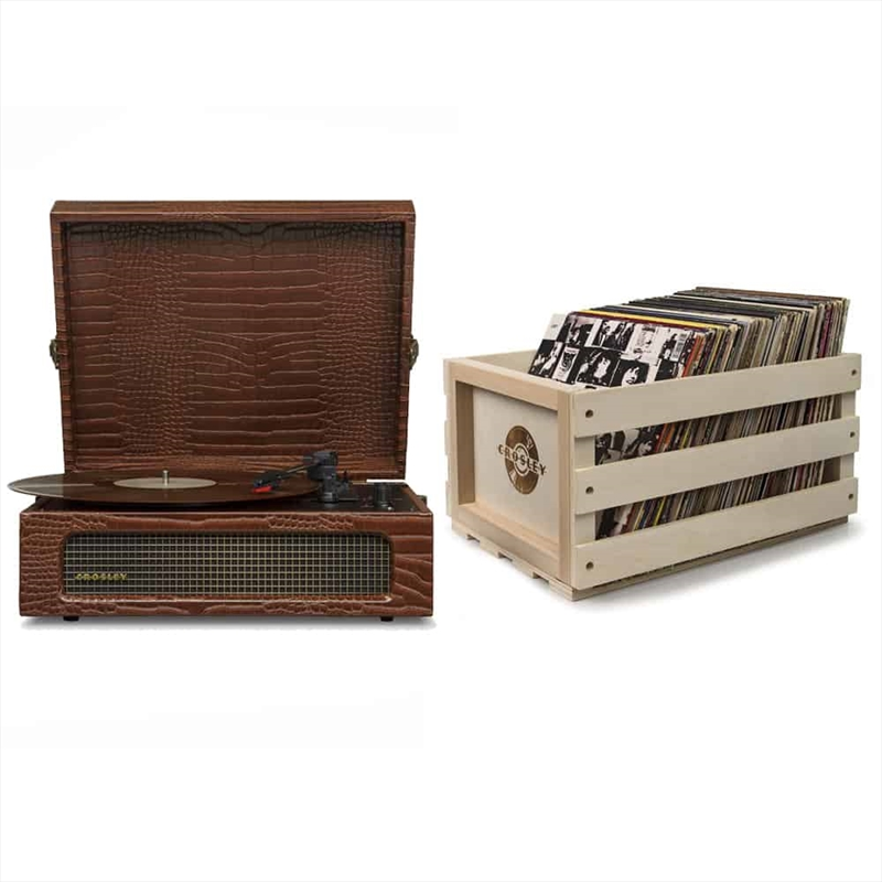 Crosley Cruiser Bluetooth Portable Turntable with Storage Crate - Brown Croc | Hardware Electrical