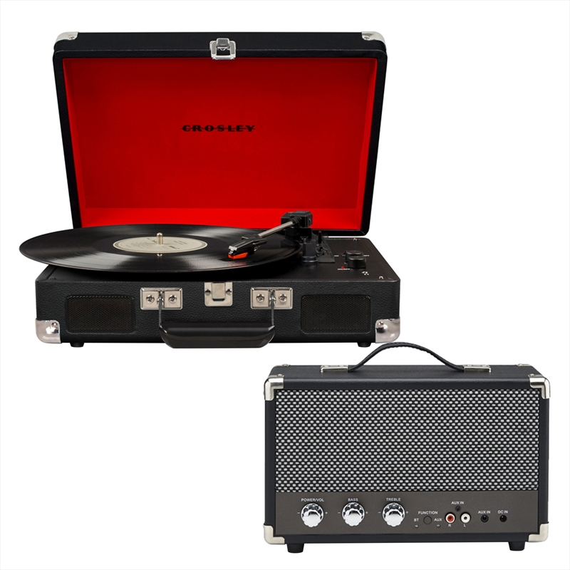 Crosley Cruiser Bluetooth Portable Turntable with Speaker  - Black | Hardware Electrical