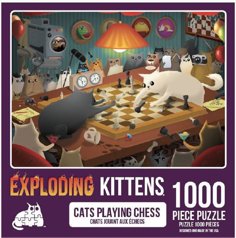 Cats Playing Chess 1000 Piece Puzzle | Merchandise