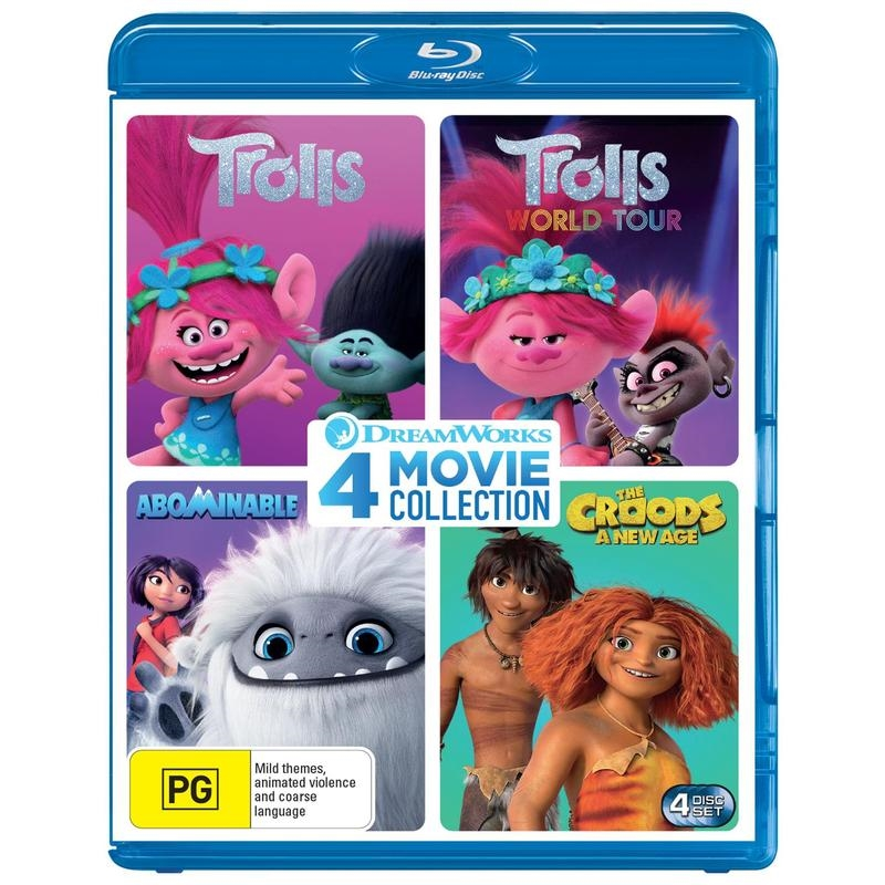Dreamworks 4 Movie Pack: Trolls / Trolls World Tour / Abominable / The Croods: A New Age   Blu-ray