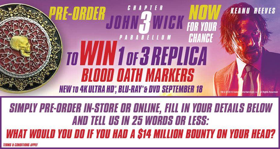 Win 1 Of 3 John Wick 3 Blood Oath Markers