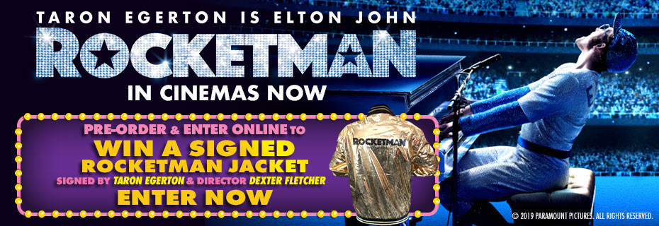 Pre-order & Enter To Win A Gold Rocketman Jacket Signed By Taron Egerton & Dexter Fletcher!
